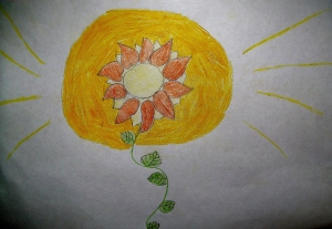 Sunflowers grow into the light by Evie